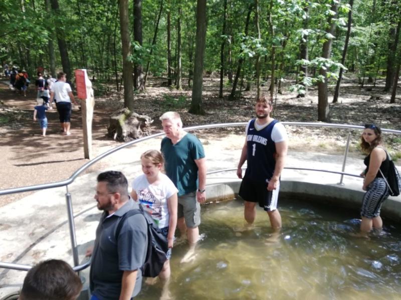 Eine Familie im Barfußpark Beelitz im Kneipp Wasserbecken